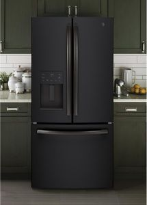 "GYE18JEMDS GE 33"" 17.5 Cu. Ft. Counter Depth French Door Refrigerator with Turbo Cool Setting and Quick Space Shelf - Black Slate"