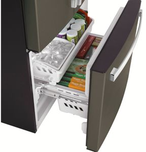 """GYE18JMLES GE 33"""" 17.5 Cu. Ft. Counter Depth French Door Refrigerator with Turbo Cool Setting and Quick Space Shelf - Slate"""