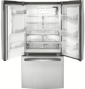 """GYE18JSLSS GE 33"""" 17.5 Cu. Ft. Counter Depth French Door Refrigerator with Turbo Cool Setting and Quick Space Shelf - Stainless Steel"""