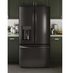 """GYE22HBLTS GE 36"""" Counter Depth 22.2 Cu. Ft. French Door Refrigerator with TwinChill Evaporators - Black Stainless Steel"""