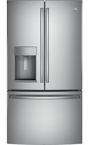 "GYE22HSKSS GE 36"" Counter Depth 22.2 Cu. Ft. French Door Refrigerator with TwinChill Evaporators - Stainless Steel"