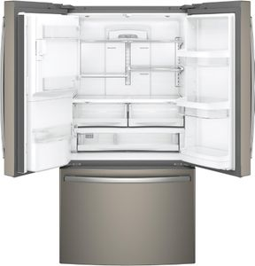 """GYS22GMNES GE 36"""" Counter-Depth French Door Refrigerator with Turbo Cool and Turbo Freeze Settings - Slate"""
