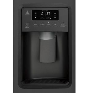 """GZS22IENDS GE 36"""" Counter Depth Side-By-Side Refrigerator with Glass Freezer Shelves and Color Match Dispenser - Black Slate"""