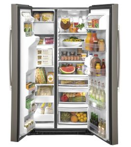 "GZS22IMNES GE 36"" Counter Depth Side-By-Side Refrigerator with Glass Freezer Shelves and Color Match Dispenser - Slate"