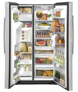 "GZS22IYNFS GE 36"" Counter Depth Side-By-Side Refrigerator with Glass Freezer Shelves and Color Match Dispenser - Fingerprint Resistant Stainless Steel"