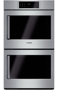 "HBLP651RUC 30"" Bosch Benchmark Series Right Swing Door Double Electric Wall Oven with Genuine European Convection and EcoClean - Stainless Steel"