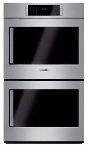 """HBLP651RUC 30"""" Bosch Benchmark Series Right Swing Door Double Electric Wall Oven with Genuine European Convection and EcoClean - Stainless Steel"""