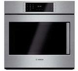 """HBLP451LUC 30"""" Bosch Benchmark Series Left Swing Door Single Electric Wall Oven with Genuine European Convection and EcoClean - Stainless Steel"""