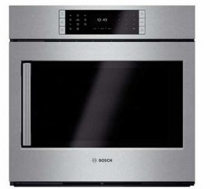 """HBLP451RUC 30"""" Bosch Benchmark Series Right Swing Door Single Electric Wall Oven with Genuine European Convection and EcoClean - Stainless Steel"""