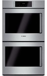 """HBLP651LUC 30"""" Bosch Benchmark Series Left Swing Door Double Electric Wall Oven with Genuine European Convection and EcoClean - Stainless Steel"""