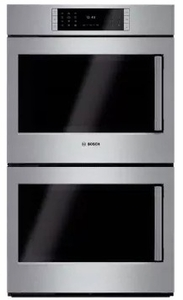 "HBLP651LUC 30"" Bosch Benchmark Series Left Swing Door Double Electric Wall Oven with Genuine European Convection and EcoClean - Stainless Steel"