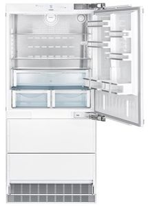 "HC2081 Liebherr 36"" Left Hinge Freestanding Bottom Freezer Counter Depth Refrigerator with NoFrost and DuoCooling - Custom Panel"