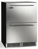 "HC24RB35 Perlick 24"" C Series Indoor Refrigerator Drawer with 144 Can Storage and RapidCool Forced Air Refrigeration System - Stainless Steel"