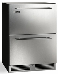 """HC24RO35 Perlick 24"""" C Series Built-In Outdoor Refrigerator Drawer with 144 Can Storage and RapidCool Forced Air Refrigeration System - Stainless Steel"""