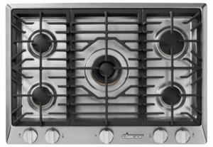 "HCT305GSLP Dacor 30"" Professional 5 Burner Liquid Propane Gas Cooktop with PermaClean Bead Blasted Finish and Simmer Sear Burners - Stainless Steel"
