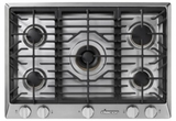 """HCT305GSLP Dacor 30"""" Heritage Collection 5 Burner Liquid Propane Gas Cooktop with PermaClean Bead Blasted Finish and Simmer Sear Burners - Stainless Steel"""