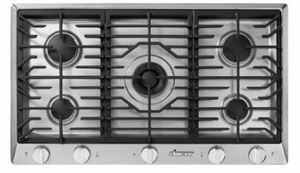 """HCT365GSLP Dacor 36"""" Professional 5 Burner Liquid Propane Gas Cooktop with PermaClean Bead Blasted Finish and Simmer Sear Burners - Stainless Steel"""