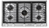 """HCT365GSLP Dacor 36"""" Heritage Collection 5 Burner Liquid Propane Gas Cooktop with PermaClean Bead Blasted Finish and Simmer Sear Burners - Stainless Steel"""