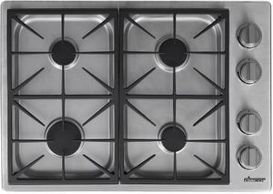 """HDCT304GSLP Dacor 30"""" Professional Style Gas Range Top with 4 Burners - Liquid Propane - Silver Stainless Steel"""