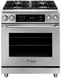 """HDER30SLP Dacor 30"""" Heritage Collection Epicure Dual Fuel Range with Simmer Sear Burners and Exclusive Four Part Convection - Liquid Propane - Stainless Steel"""
