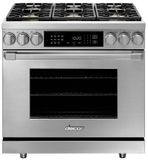 """HDER36SLP Dacor 36"""" Heritage Collection Epicure Dual Fuel Range with Simmer Sear Burners and Exclusive Four Part Convection - Liquid Propane - Stainless Steel"""