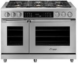 """HDER48SLP Dacor 48"""" Heritage Collection Epicure Dual Fuel Range with Simmer Sear Burners and Exclusive Four Part Convection - Liquid Propane - Stainless Steel"""