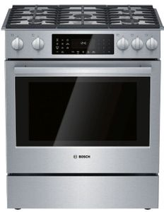 """HDI8056U Bosch 30"""" 800 Series 5 Burner Dual Fuel Slide-in Range with European Convection Oven and 11 Specialized Cooking Modes - Stainless Steel"""
