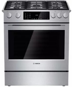 """HDIP054U Bosch 30"""" Benchmark Series Dual Fuel Slide-in Range with Touch Controls and Standard Convection - Stainless Steel"""