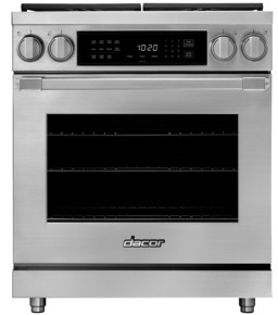 """HDPR30SLP Dacor 30"""" Heritage Collection Liquid Propane Dual Fuel Pro Range with Pro Handles and Illumina Burner Controls - Stainless Steel"""