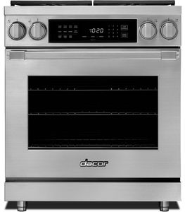 "HDPR30SNG Dacor 30"" Professional Natural Gas Dual Fuel Pro Range with Pro Handles and Illumina Burner Controls - Stainless Steel"