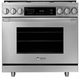 "HDPR36SLP Dacor 36"" Heritage Collection Liquid Propane Gas Dual Fuel Pro Range with Pro Handles and Illumina Burner Controls - Stainless Steel"