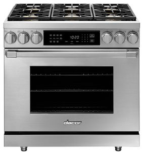 "HDPR36SNG Dacor 36"" Professional Natural Gas Dual Fuel Pro Range with Pro Handles Illumina Burner Controls - Stainless Steel"