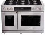 "HDPR48SLP Dacor 48"" Heritage Collection Liquid Propane Duel Fuel Pro Range with SimmerSear Burners and Illumina Burner Controls - Stainless Steel"