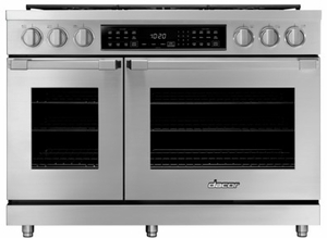 """HDPR48SLP Dacor 48"""" Heritage Collection Liquid Propane Dual Fuel Pro Range with Pro Handles and Illumina Burner Controls - Stainless Steel"""