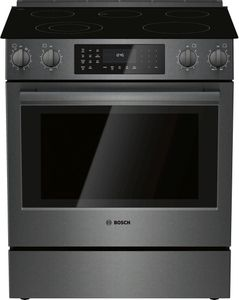 """HEI8046U Bosch 30"""" 800 Series 5 Element Electric Slide-in Range with European Convection and 11 Specialized Cooking Modes - Black Stainless Steel"""
