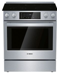 """HEI8056U Bosch 30"""" 800 Series 5 Element Electric Slide-in Range with European Convection and 11 Specialized Cooking Modes - Stainless Steel"""