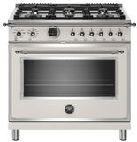 "HERT366DFSAVT Bertazzoni 36"" Heritage Series Dual Fuel Range with 6 Brass Burners and Self Clean Oven - Ivory Gloss"