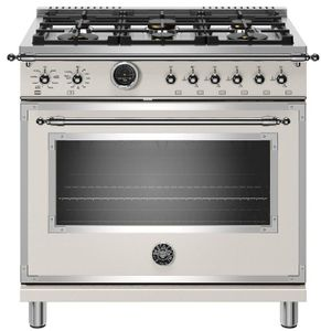 """HERT366DFSAVT Bertazzoni 36"""" Heritage Series Dual Fuel Range with 6 Brass Burners and Self Clean Oven - Ivory Gloss"""