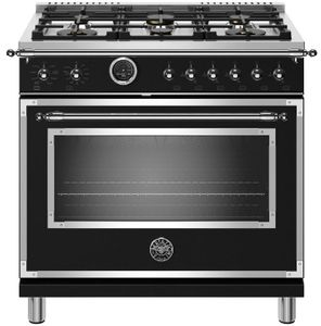 "HERT366DFSNET Bertazzoni 36"" Heritage Series Dual Fuel Range with 6 Brass Burners and Self Clean Oven - Nero Matt Black"