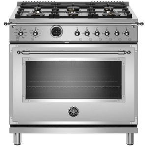 "HERT366DFSXT Bertazzoni 36"" Heritage Series Dual Fuel Range with 6 Brass Burners and Self Clean Over - Stainless Steel"