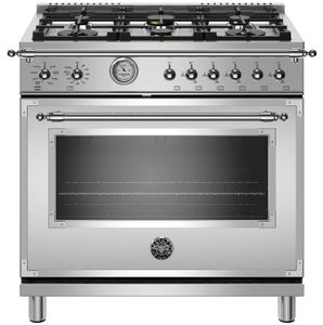 "HERT366GASXT Bertazzoni 36"" Heritage Series All Gas Range with 6 Brass Burners and Smooth Glide Telescopic Racks - Stainless Steel"