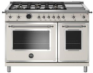 "HERT486GDFSAVT Bertazzoni 48"" Heritage Series Dual Fuel Range with 6 Brass Burners and Self Clean Oven - Ivory Gloss"