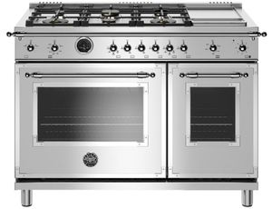 """HERT486GDFSXT Bertazzoni 48"""" Heritage Series Dual Fuel Range with 6 Brass Burners and Self Clean Oven - Stainless Steel"""