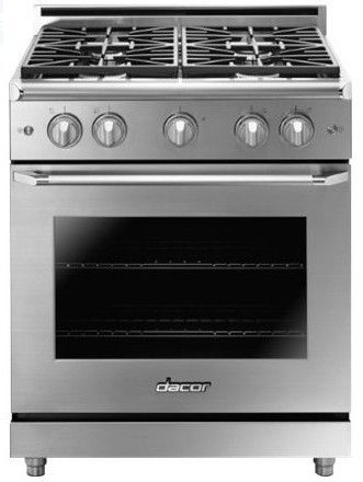 "HGER30SNG Dacor 30"" Heritage Collection Epicure Gas Range with 4 Dual Stack Sealed Burners and Smart Flame - Natural Gas - Stainless Steel"