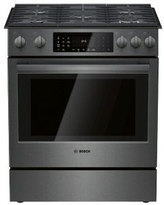 """HGI8046UC Bosch 30"""" 800 Series 5 Burner Gas Slide-in Range with Touch Controls and 9 Specialized Cooking Modes - Black Stainless Steel"""