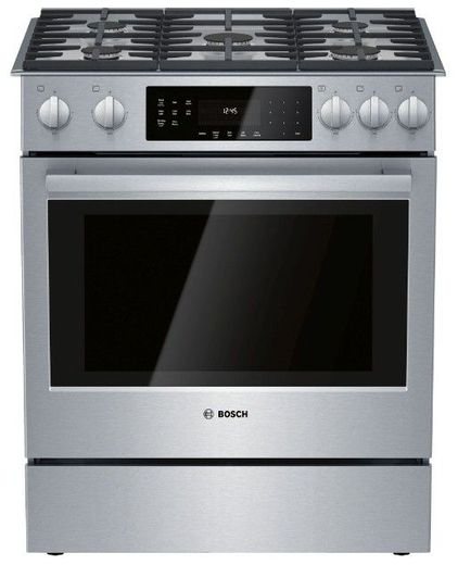"HGI8056UC Bosch 30"" 800 Series 5 Burner Gas Slide-in Range with Touch Controls and 9 Specialized Cooking Modes - Stainless Steel"