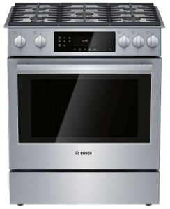 """HGI8056UC Bosch 30"""" 800 Series 5 Burner Gas Slide-in Range with Touch Controls and 9 Specialized Cooking Modes - Stainless Steel"""