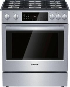 """HGIP056UC Bosch 30"""" Benchmark Series Gas Slide-in Range with Touch Controls and Standard Convection - Stainless Steel"""