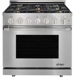 """HGPR36SLP Dacor 36"""" Professional Liquid Propane Gas Self Cleaning Pro Range with Pro Handles and High Performance Dual Stacked Burners - Stainless Steel"""
