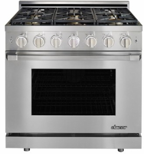 "HGPR36SLP Dacor 36"" Heritage Collection Liquid Propane Gas Self Cleaning Pro Range with Pro Handles and High Performance Dual Stacked Burners - Stainless Steel"